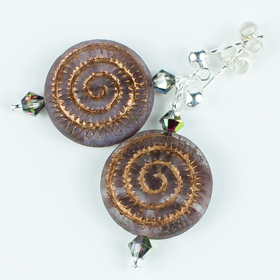 Burgundy/bronze swirl Czech glass post earrings