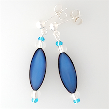Blue torpedo post earrings