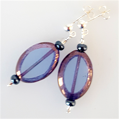 Blue oval Czech glass post earrings