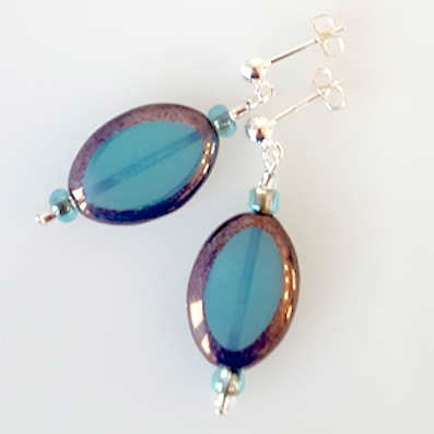 Aqua oval Czech glass post earrings