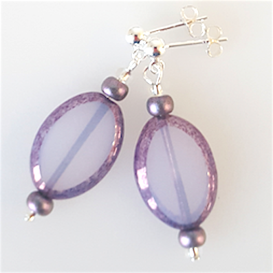 Lavender/blue oval Czech glass post earrings
