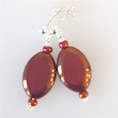 Burgundy oval Czech glass post earrings