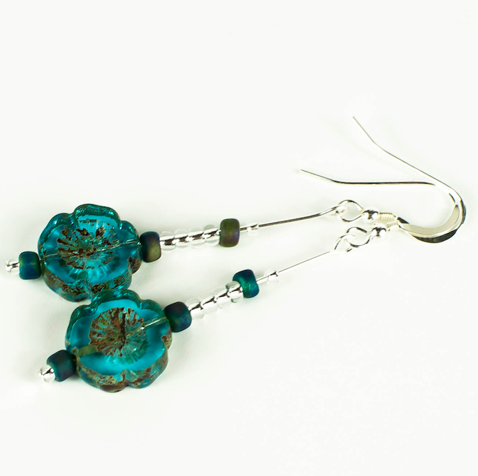 Aqua cut flower earrings with hooks