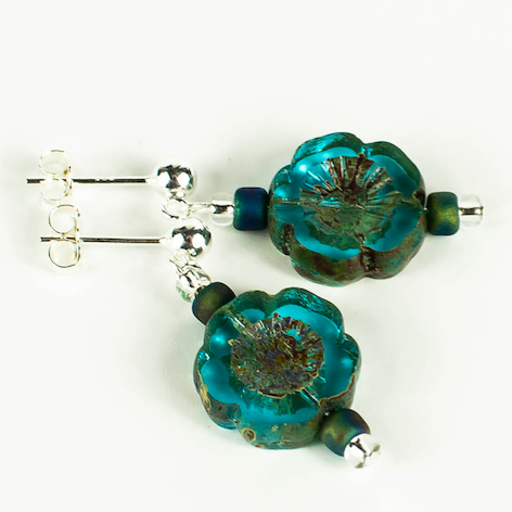 Aqua Cut flower earrings on posts