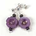 Purple cut flower post earrings