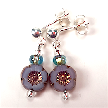 Aqua/grey small flower post earrings