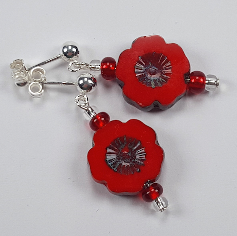 Red cut flower earrings with posts