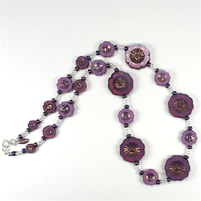Plum cut flower necklace