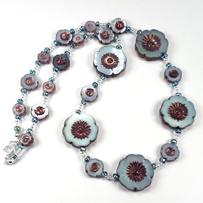 Aqua/grey flower necklace