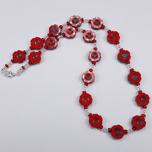 Red cut flower necklace