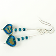 Rich aqua glass heart hook earrings