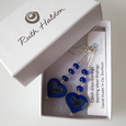 Rich blue mix glass heart hookm earrings