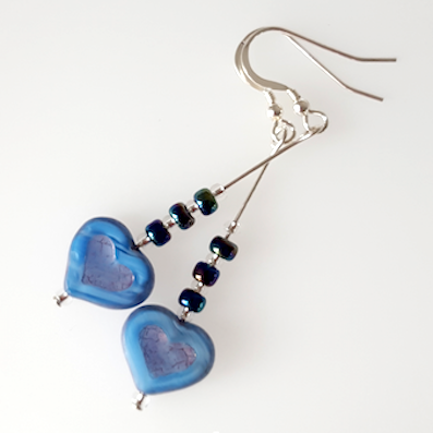 Pale blue glass heart hook earrings