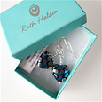 Teal spotted heart hoop earrings