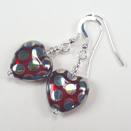 Red spotted glass heart hook earrings