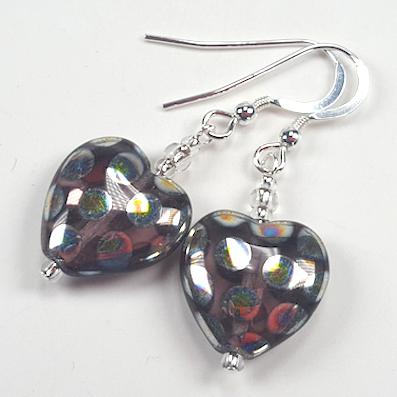 Purple spotted heart hook earrings