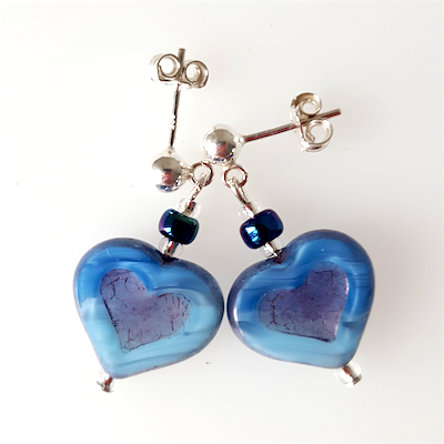 Pale blue glass heart post earrings