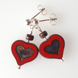 Bright red glass heart post earrings