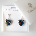 Teal spotted heart post earrings