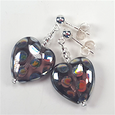 Purple spotted heart post earrings