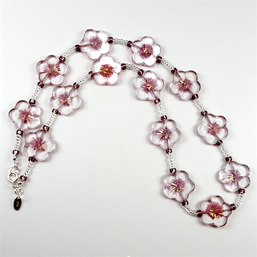 Clear pink cut flower necklace