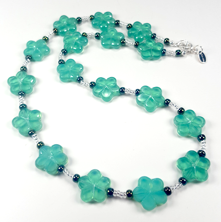 Soft Aqua cut flower necklace