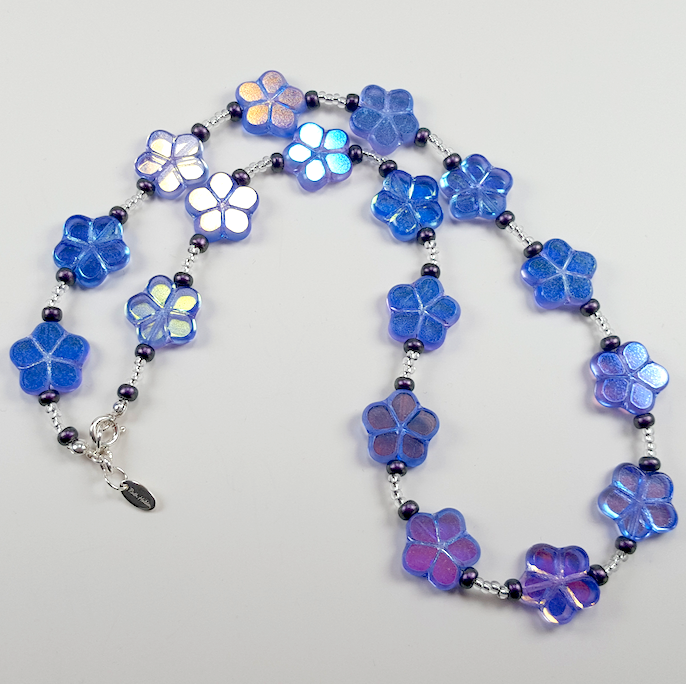 Purple cut flower necklace