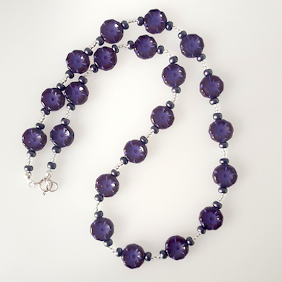 Purple Czech glass 10mm flower necklace