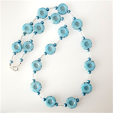 Light blue 14mm flower necklace