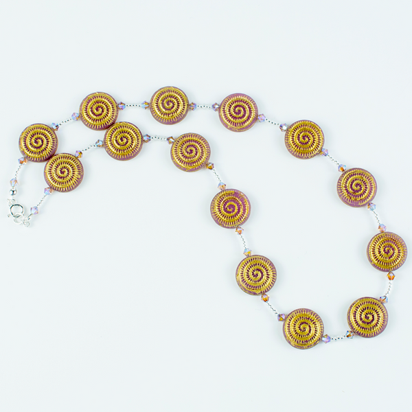 Pale pink/golden swirl Czech glass necklace