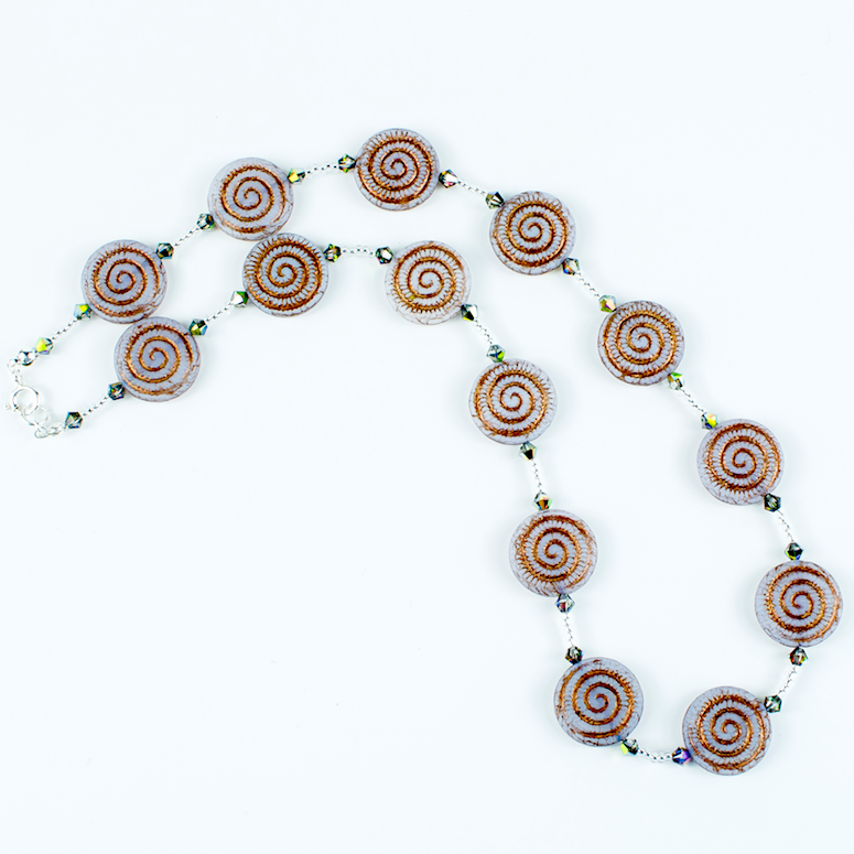 Grey/bronze swirl Czech glass necklace