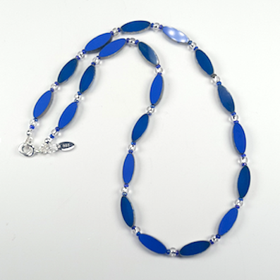 Rich blue torpedo necklace