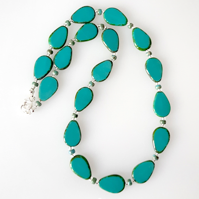 Teal pear shaped glass necklace