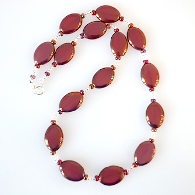 Burgundy oval Czech glass necklace
