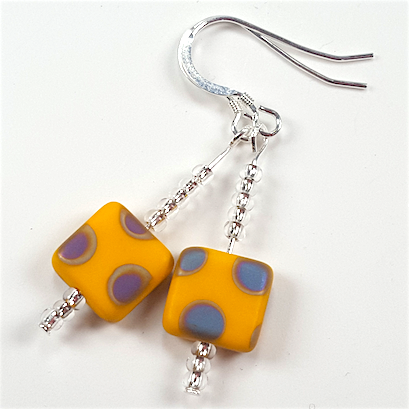 Yellow spot hook earrings