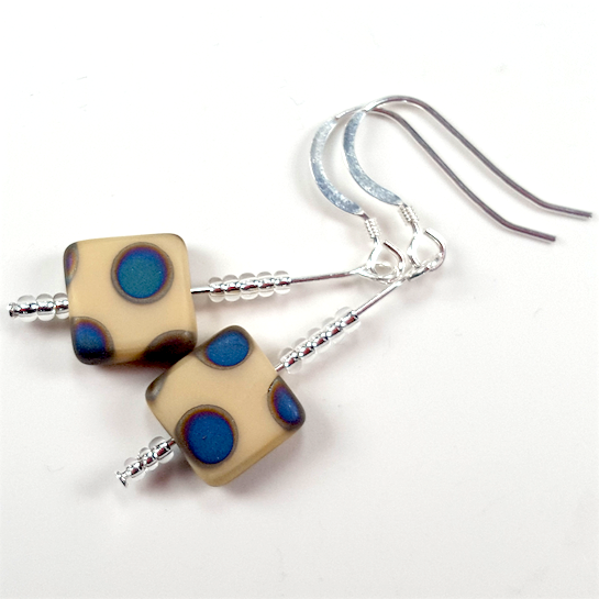 Cream spot hook earrings