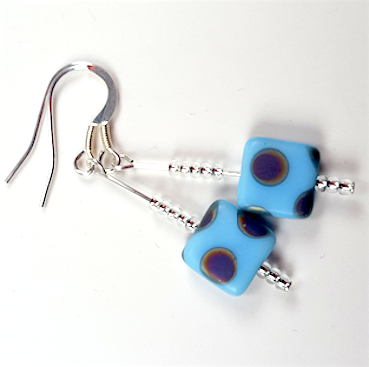 Cool blue spot hook earrings