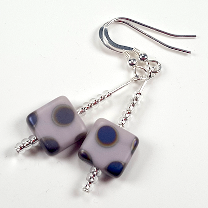 Lavender spot hook earrings