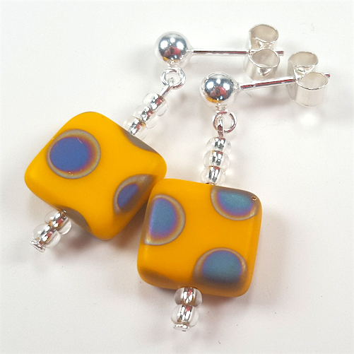 Yellow spot post earrings