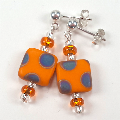 Orange multi spot post earrings