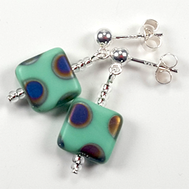 Aqua spot post earrings