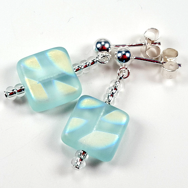 Aqua frosted post earrings