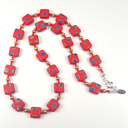 Coral multi spot necklace