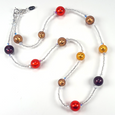 Mixed red/bugandy/golden murano glass necklace
