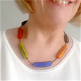 Lamp-work triangle tube 'brights' necklace
