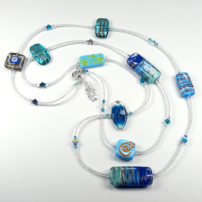 Aqua lamp-work beads & crystal, long necklace