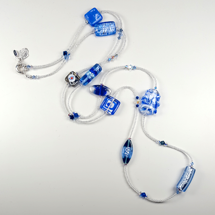 Blue lamp-work beads & crystal long necklace