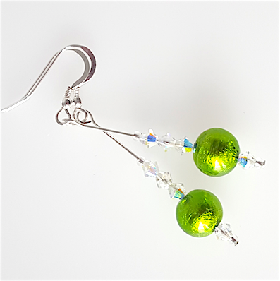 Lime green Murano hook earrings
