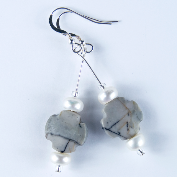 Picasso Jasper & freshwater pear hook earrings