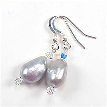 Silver/grey large irregular freshwater pearl and crystal hook earrings